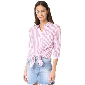 Pink and white striped button down shirt